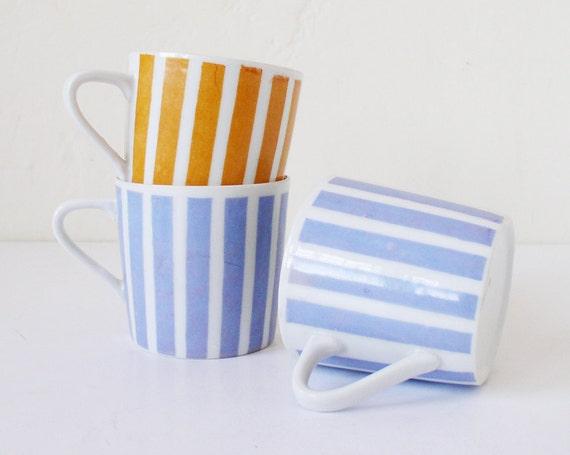 Reserved for Tomomi - Vintage striped mugs