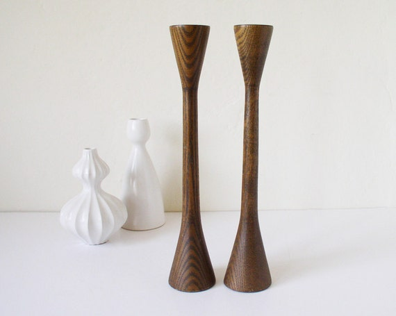 Mid-century Danish modern wooden candle holders