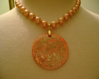 Golden and Peach Necklace