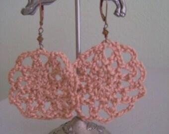 Copper Mist Crochet Medallion Earrings