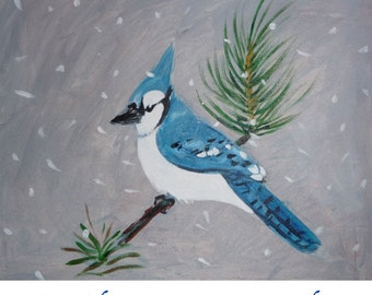 Winter Blue Jay - Painting