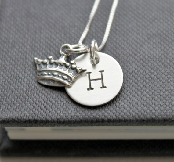 Queen Personalized Necklace..... As Seen in Women's Day Magazine .... Hand Stamped Initial Necklace, Crown Necklace