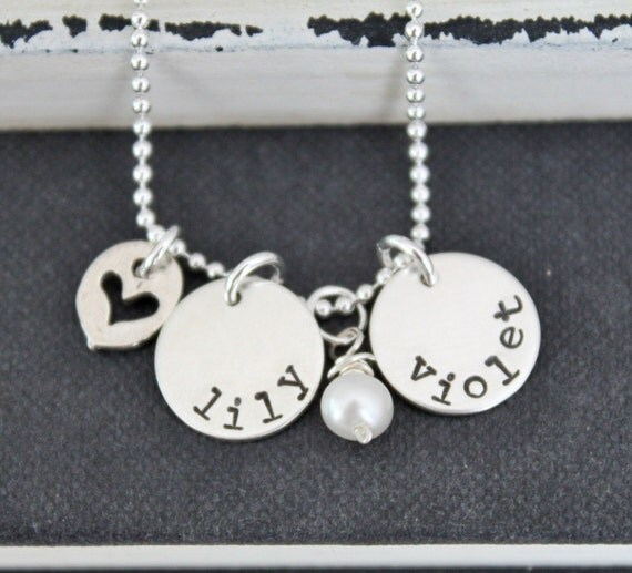 Personalized Mothers Necklace Hand Stamped Necklace Sterling Silver .... Two Small Name Discs Mommy Jewelry