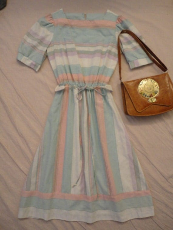 ON RESERVE ... Pastel Dream ... stripe shirtdress