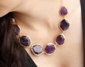 Purple Amethyst Stones Necklace