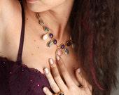Three Stones Necklace with Pink Quartz, Purple Amethyst and Grey Labrodorit Stones