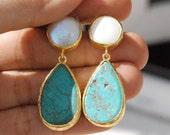 Gouttes de turquoise et perle boucles longues boucles d'oreilles pendantes en argent sterling 925K recouvert en 18K or, turquoises et perle grandes boucles d'oreilles