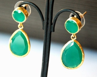 Angelina Jolie Style Green Drop Earrings