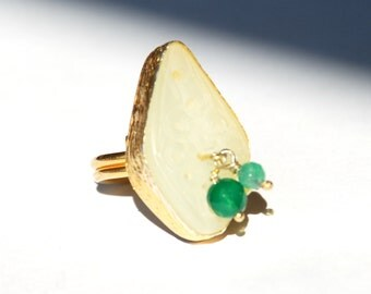 Carved Jade Ring With Charm Stones