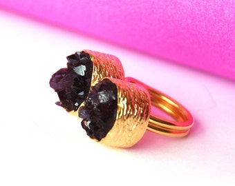 Duo Amethyst Ring Made With Silver and Gold
