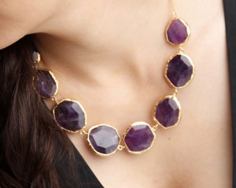 Purple Amethyst Stones Necklace