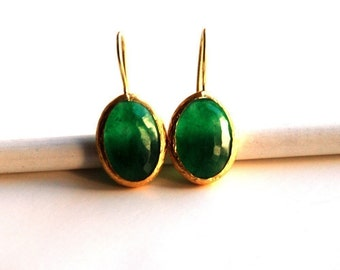 Green Oval Faceted Jade Earrings