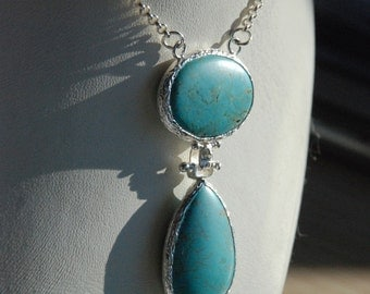 Turquoise Silver Necklace With Oval and Tear Drop Cut Stones