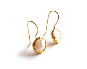 Coin Pearls Gold Earrings