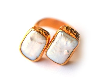 Rectangle Pearls Ring
