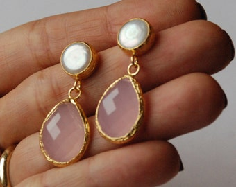 Pink Quartz Peal Drop Earrings Angelina Style, long Earrings made in silver coated 18K gold - Pink Quartz Dangle - Long Drop Earrings