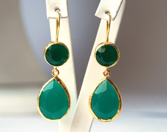 Angelina Jolie French Style Green Drop Earrings