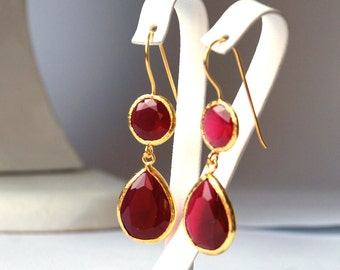 Angelina Jolie French Style Red Jade Drop Earrings