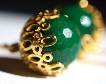Green Jade Ball Earrings