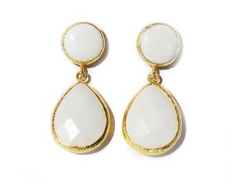 Angelina Style White Jade Drop Earrings