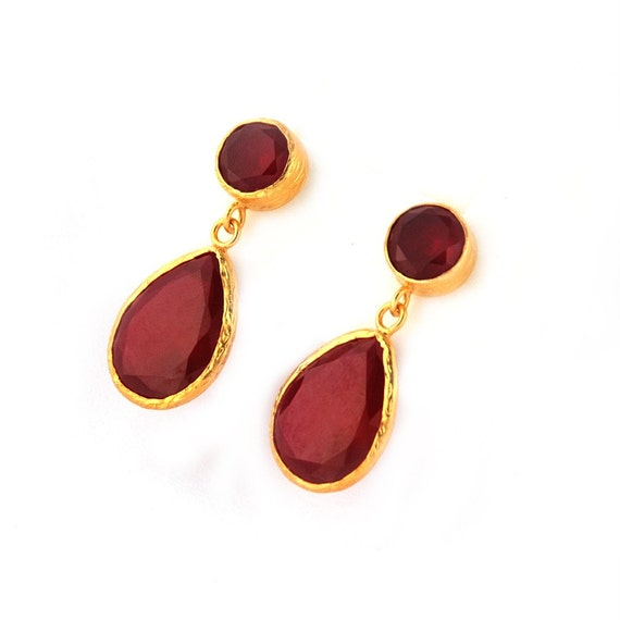 Angelina Jolie Style Red Drop Earrings