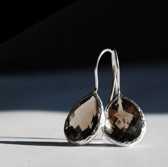 Smokey Quartz Faceted Drop Silver Earrings