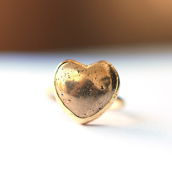 Gold Heart Ring with a Pyrite Stone, prepared with sterling silver 18K gold coat, golden heart, valentines day gift, fools gold, Pyrite ring