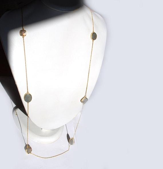 Labradorite Stones Long Necklace