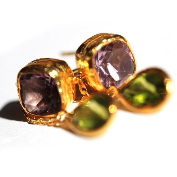 Peridot and Amethyst Drop Earrings