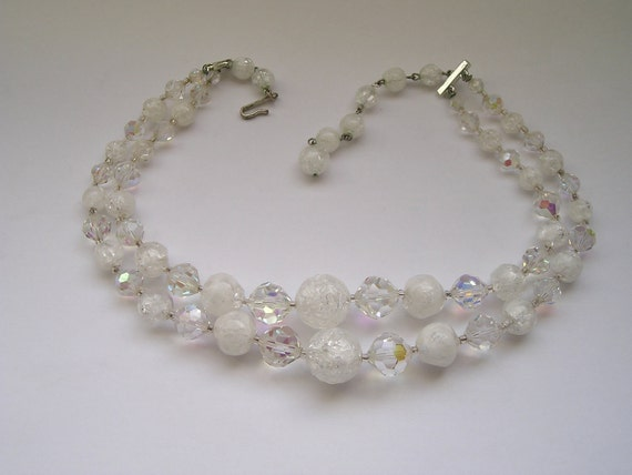 Vintage Laguna 2 strand Crystal and Lucite marbled necklace
