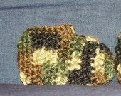 GREEN CAMO  Crochet Baby Booties