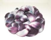 SALE -  Midnight Blues 'n Purples - Handpainted Merino Roving (4oz)