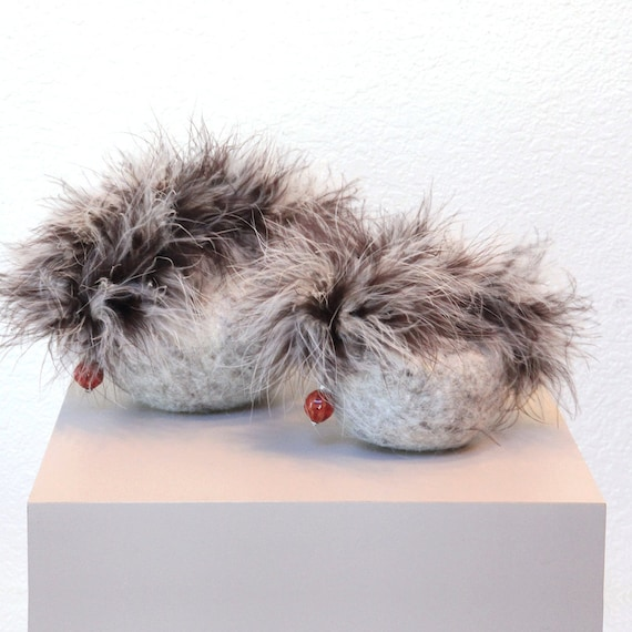 Posh Felted Purse (with Cocoa-Brown and Cream Feather Trim)