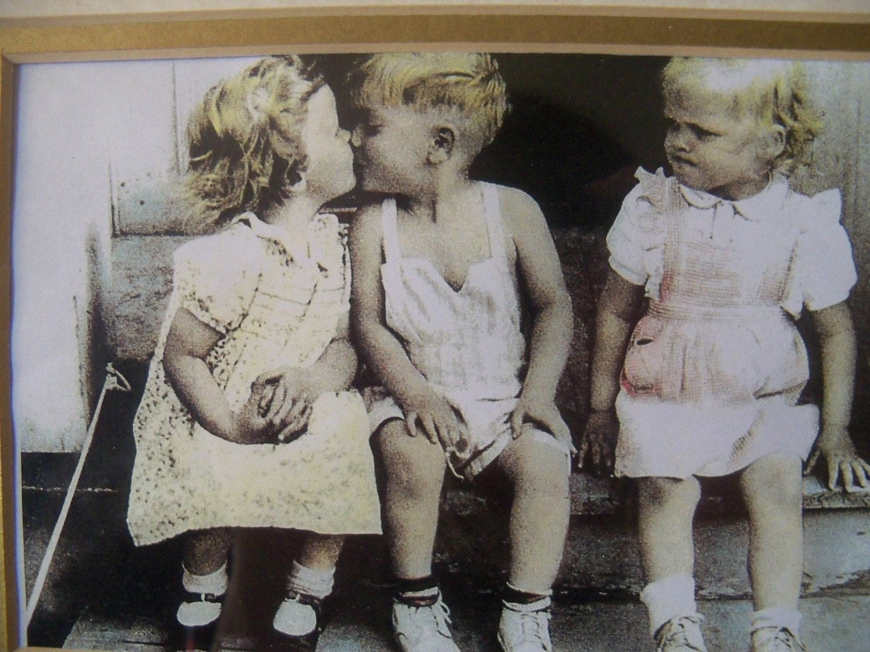 Kissing Children Vintage Photo