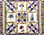 IVY IN My GARDEN Quilt E-Pattern - B J Q 102 --- Printable Download Pdf Diy Free Shipping Digital Purple Green Beige Rose Iris Flower Throw