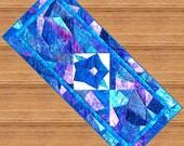 MORNING GLORY Table Runner Pattern - B J Q 123 --- Printable Download Pdf E-Pattern Diy Free Shipping Digital Pattern Batik Blue Purple