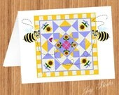 DAISY Quilt With QUILTING BEES Printed Note Cards