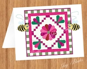 DRESDEN ROSE QUILT With Quilting Bees Printed Note Cards