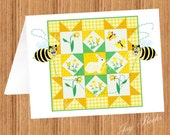 SPRING BUNNY QUILT With Quilting Bees Printed Note Cards
