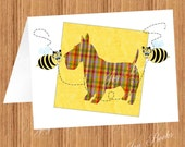 PLAID SCOTTIE DOG Quilt Block With Quilting Bees Printed Note Cards