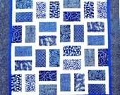 H IS For HAWAII Quilt Pattern - B J Q 103 --- Printable Download Pdf E-Pattern Diy Free Shipping Digital Pattern Blue White Batik