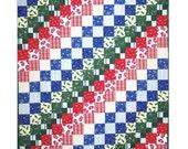 BITS & PIECES Quilt Pattern - B J Q 105 --- Printable Download Pdf E-Pattern Diy Free Shipping Digital Pattern Squares Red White Blue Green