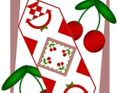 CHEERY CHERRIES Table Runner Pattern - B J Q 122 --- Printable Download Pdf E-Pattern Diy Free Shipping Digital Pattern Red White Cherry