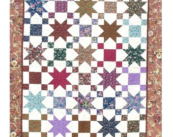 STARS & PATIENCE Quilt E-Pattern - B J Q 107 --- Printable Download Pdf Diy Free Shipping Digital White Brown Purple Red Blue Green Pink