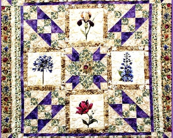 IVY IN My GARDEN Quilt E-Pattern - B J Q 102 --- Printable Download Pdf Diy Free Shipping Digital Purple Green Beige Rose Iris Flower Throw
