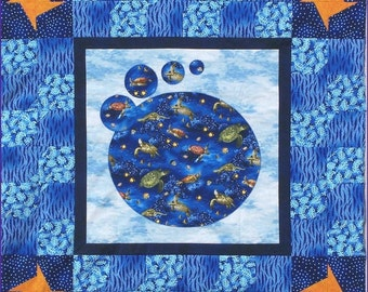 UNDER THE SEA Quilt Pattern - B J Q 127 --- Printable Download Pdf E-Pattern Diy Free Shipping Digital Pattern Sea Turtle Blue Wall Hanging