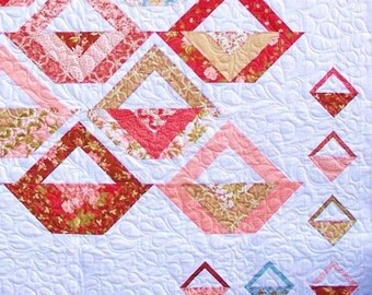 A TISKET, A Tasket Quilt Patttern - B J Q 114 --- Printable Download Pdf E-Pattern Diy Free Shipping Digital Pattern Basket White Pastel