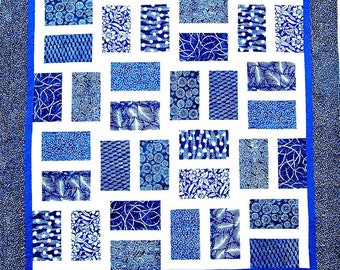 H IS For HAWAII Quilt Pattern - B J Q 103 --- Printable Download Pdf E-Pattern Diy Free Shipping Digital Pattern Blue White Batik