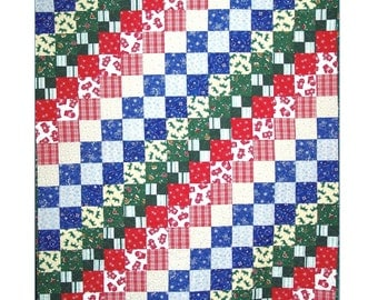 BITS & PIECES Quilt Pattern - B J Q 105 --- Printable Download Pdf E-Pattern Diy Free Shipping Digital Pattern Squares Red White Blue Green