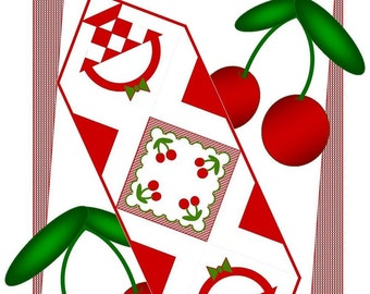 CHEERY CHERRIES Table Runner Pattern - B J Q 122 --- Printable Download Pdf E-Pattern Diy Free Shipping Digital Pattern Red White Cherry